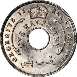 Coin > ½penny, 1937-1947 - British West Africa  - reverse
