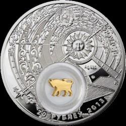Moneta > 20rubli, 2013 - Białoruś  (Znaki zodiaku - Byk /pozłacany/) - obverse