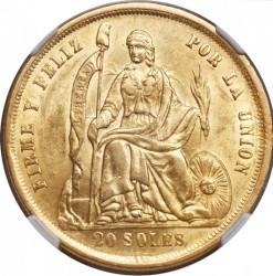 سکه > 20سول, 1863 - پرو  - obverse