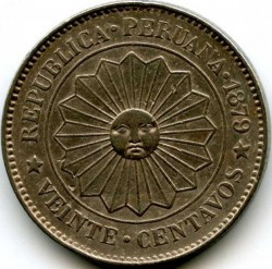 Moneda > 20centavos, 1879 - Perú  - obverse