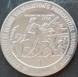 Moneta > 1corona, 1989 - Isola di Man  (200th Anniversary - Inauguration of President George Washington /Crossing the Delaware/) - reverse