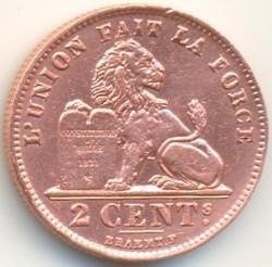 "Moneta > 2santimai, 1911-1919 - Belgija  (Prancūziška legenda - ""ALBERT ROI DES BELGES"") - reverse"