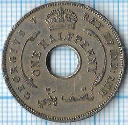 Moneda > ½penny, 1912-1936 - Àfrica Occidental Britànica  - obverse