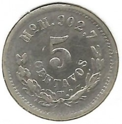 Moneta > 5centavos, 1869-1897 - Meksyk  - obverse