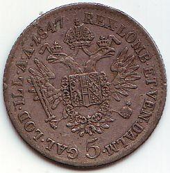Монета > 5кройцера, 1837-1848 - Австрия  - obverse