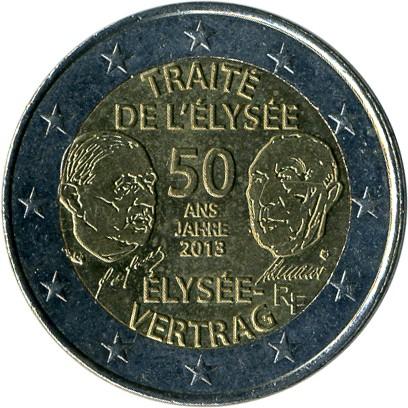 2 Euro 2013 élysée Vertrag Frankreich Münzen Wert Ucoinnet