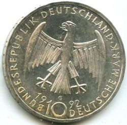 Moneda > 10mark, 1992 - Alemanya  (125è aniversari - Naixement de Kathe Kollwitz) - obverse