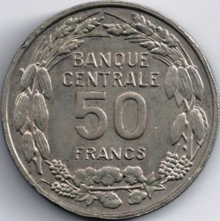 Coin > 50 francs, 1960 - Cameroon  - reverse