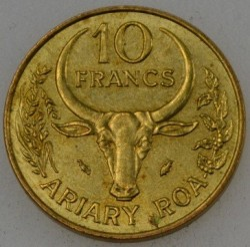 Moneta > 10frankų, 1987 - Madagaskaras  - obverse