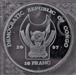 Moneta > 10franków, 2007 - Kongo - KRD  (Zagrożone gatunki - Lew) - obverse