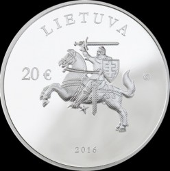 Moneta > 20 euro, 2016 - Lituania  (25th Anniversary - Membership in UN) - obverse