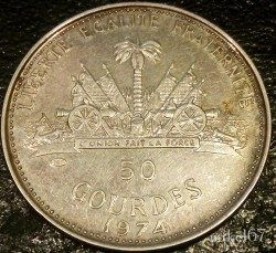 Moneta > 50gourdes, 1974 - Haiti  (Anno Santo) - obverse