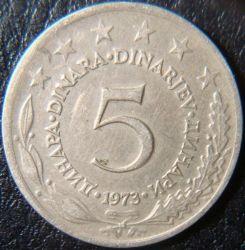 Moneda > 5dinares, 1973 - Yugoslavia  - reverse