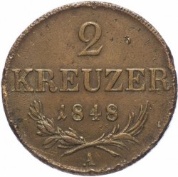 Monedă > 2сreițari, 1848 - Austria  - obverse