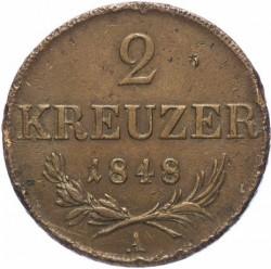 Monedă > 2сreițari, 1848 - Austria  - reverse