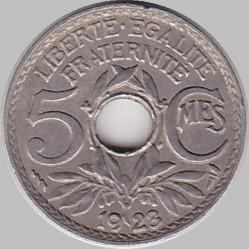 5 Centimes 1923 Loch In Der Mitte Frankreich Münzen Wert