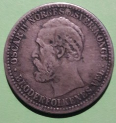 Coin > 50 ore, 1877-1904 - Norway  - obverse