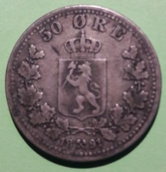 Coin > 50 ore, 1877-1904 - Norway  - reverse