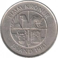 Münze > 5Kronen, 1981-1992 - Island   - reverse