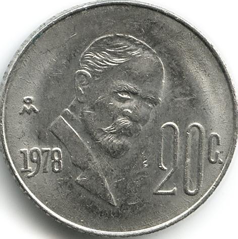 20 centavos 1974-1983, Mexico - Coin value - uCoin net