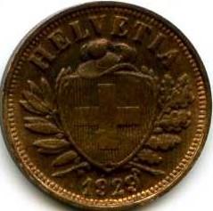Moneda > 2céntimos, 1929 - Suiza  - obverse