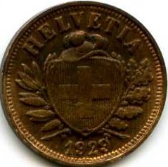 Moneta > 2rapenai, 1929 - Šveicarija  - obverse