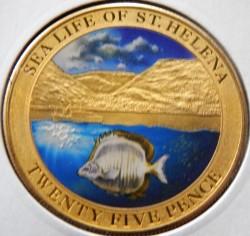 Moneta > 25pensów, 2013 - Wyspa Świętej Heleny  (Życie morskie Wyspy Świętej Heleny - Ryba srebrzyk) - reverse
