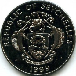 Coin > 5rupees, 1999 - Seychelles  (Wedding of the Prince Edward and Miss Sophie Rhys-Jones) - obverse