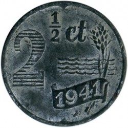 Monedă > 2½ cenți, 1941 - Regatul Țărilor de Jos  (Zinc /gray color/) - obverse