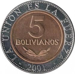 Coin > 5bolivianos, 2001-2004 - Bolivia  - reverse