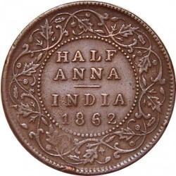 Münze > ½Anna, 1862-1876 - Britisch-Indien  - reverse