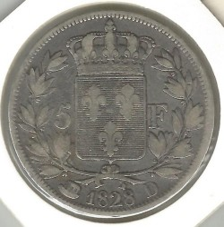 Moneta > 5franchi, 1827-1830 - Francia  - obverse