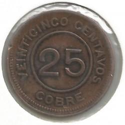 Munt > 25centavos, 1915 - Guatemala  - obverse