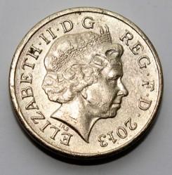 Mynt > 1pund, 2013 - Storbritannia  (England Flora - Rose and Oak) - obverse