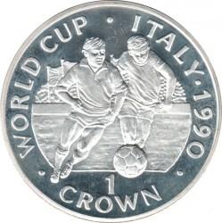 Moneta > 1corona, 1990 - Gibilterra  (XIV Coppa del Mondo FIFA, Italia 1990 - Due giocatori con la palla in basso) - reverse