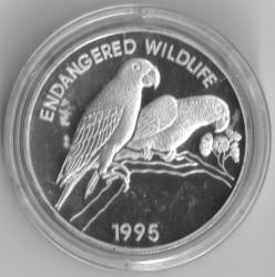 Moneta > 25dollari, 1995 - Giamaica  (Fauna in via di estinzione - Amazzone becconero) - reverse