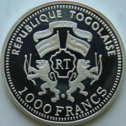Moneta > 1000franków, 2000 - Togo  (Zagrożone gatunki zwierząt - Lew) - obverse