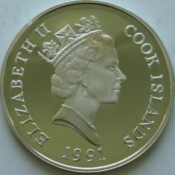 Moneta > 50dolarów, 1990-1991 - Wyspy Cooka  (Zagrożone gatunki - Lew) - obverse