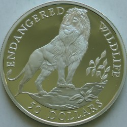 Moneta > 50dolarów, 1990-1991 - Wyspy Cooka  (Zagrożone gatunki - Lew) - reverse