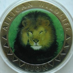 Moneta > 5dolarów, 2000 - Liberia  (Fauna Afryki - Lew) - obverse