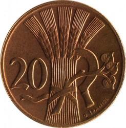 Mynt > 20hellers, 1947-1950 - Tjeckoslovakien  - reverse