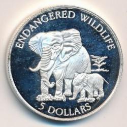 Moneta > 5dolarów, 1995 - Wyspy Cooka  (Ochrona przyrody - Słoń) - reverse