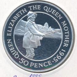 Moneta > 50pensów, 1995 - Wyspa Wniebowstąpienia  (95 rocznica urodzin - Królowa Matka ) - reverse