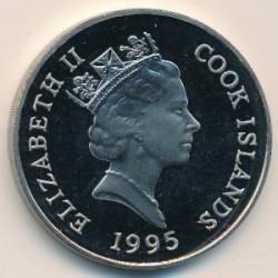 Monēta > 1dolārs, 1995 - Kuka salas  (95th Anniversary - Birth of Queen Mother) - obverse