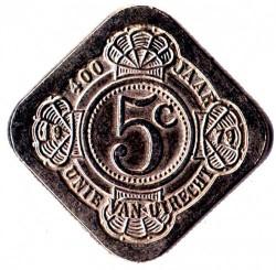 Moneda > 5centavos, 1979 - Países Bajos  (70th Anniversary - Birth of Queen Julianna) - reverse