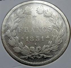 Moneta > 5franchi, 1831 - Francia  (Nuovo tipo: con corona) - reverse