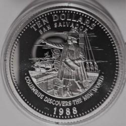 Монета > 10долларов, 1988 - Багамы  (Открытие Нового Света - Христофор Колумб) - reverse