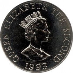 Monedă > 2 lire, 1993 - Alderney  (40th Anniversary - Coronation of Queen Elizabeth II) - obverse