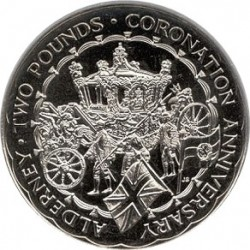 Monedă > 2 lire, 1993 - Alderney  (40th Anniversary - Coronation of Queen Elizabeth II) - reverse