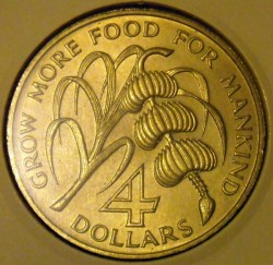 Moeda > 4dólares, 1970 - Montserrat  (FAO) - obverse